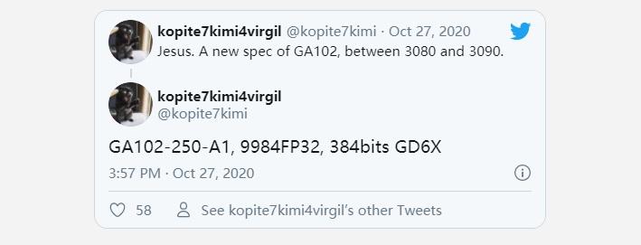英伟达 RTX 3080 Ti 规格曝光,搭载 9984 CUDA 核心