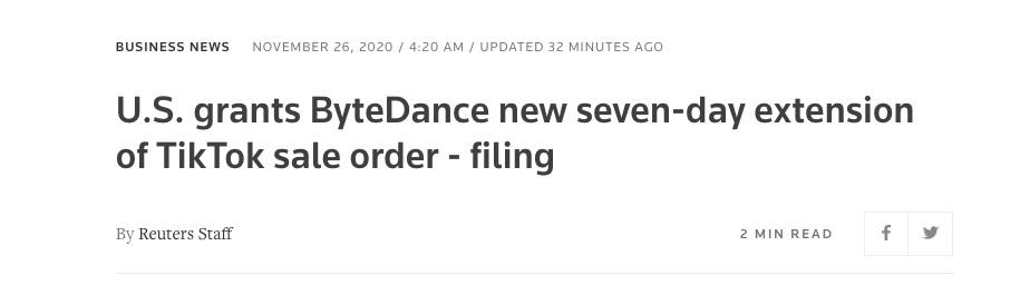 美国将字节跳动的 TikTok 出售令期限再次延长 7 天