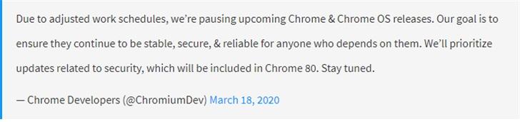 谷歌将暂停发布Chrome和Chrome OS操作系统的更新