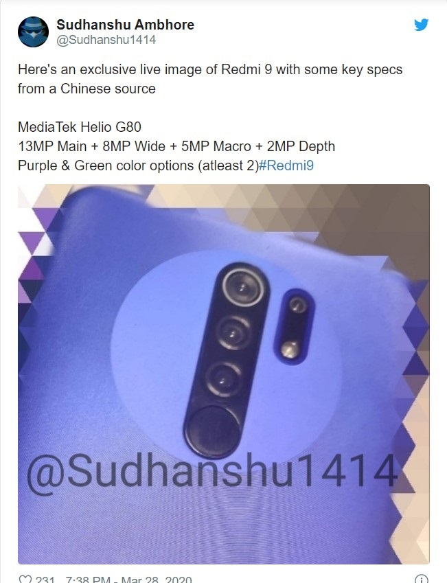 Redmi 9 Real Spy photo, configuration exposure: post four photos + hidden fingerprint sensor