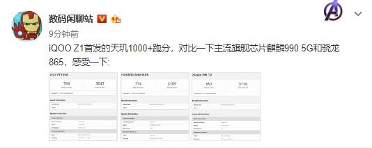 天玑1000+ Geekbench跑分曝光:单核超麒麟990,逊于骁龙865