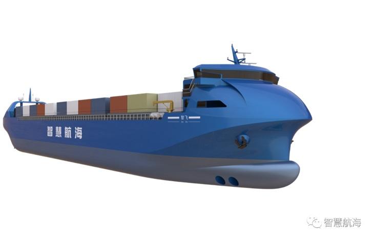 """我国首艘智能航行集装箱运输商船""""智飞""""号在青岛开工"""