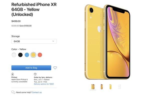 苹果首次开售iPhone XR官翻机:499美元起