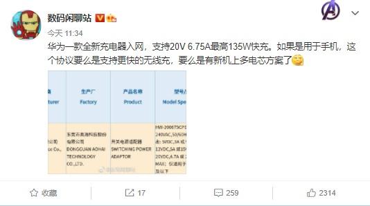 《【多彩联盟平台代理怎么注册】华为新款充电器入网,最高 135W》