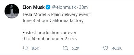 马斯克:特斯拉Model S Plaid交付活动将于6月3日在加利福尼亚工厂举行