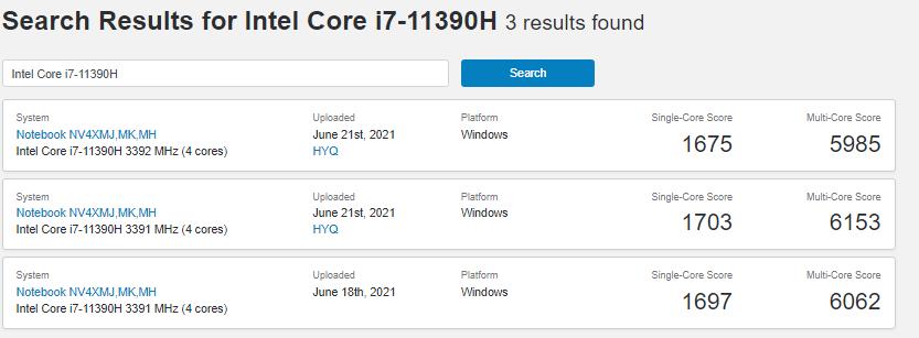 英特尔悄然发布了全新的i7-11390H和i5-11320H处理器