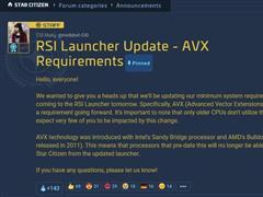《星际公民》新版本将无法在奔腾和赛♀扬处理器平台运行